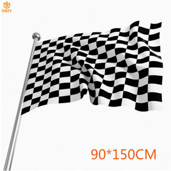 SMJY 90x150cm F1 Racing Flag 100% Polyester Classic Black White Checkered Race Start Special Banner Free Shipping
