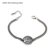 100% 925 Sterling Silver Bracelet Men Black Oxide Retro Fashion Bracelets for Women Jewelry