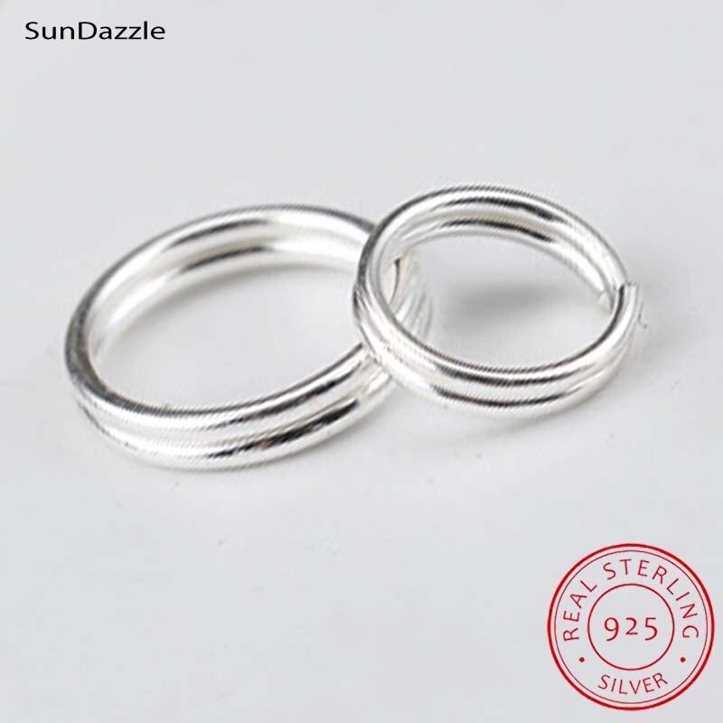 Оригинальные однотонные двойные открытые колечки из серебра 925 пробы, раздельное кольцо, аксессуары для изготовления ключей