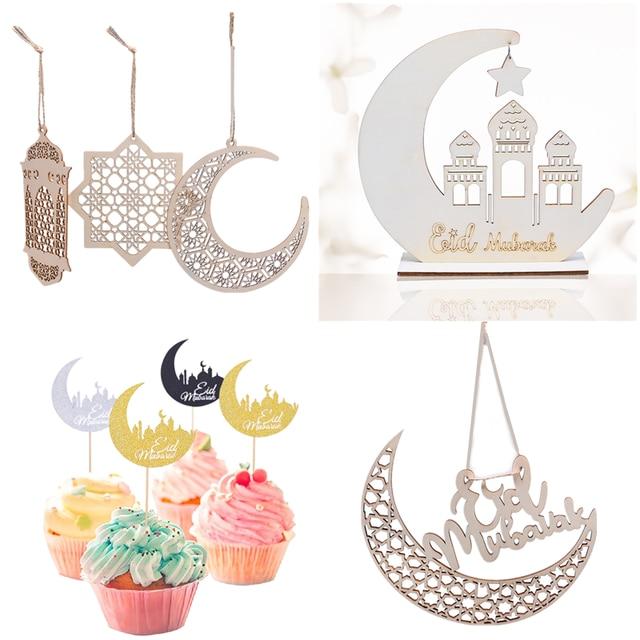 1 takım EID Mubarak cami ahşap ay içi boş kolye süs İslam müslüman ramazan festivali ev dekor asılı malzemeleri DIY el sanatları