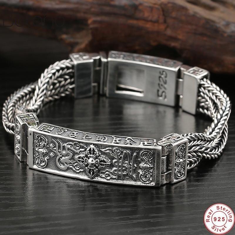 925 Sterling Silver colour Tibetan Mantra Men Bracelets Width 13mm Braided Woven Six Words Vajry Pestle Engraved Prayer Buddha