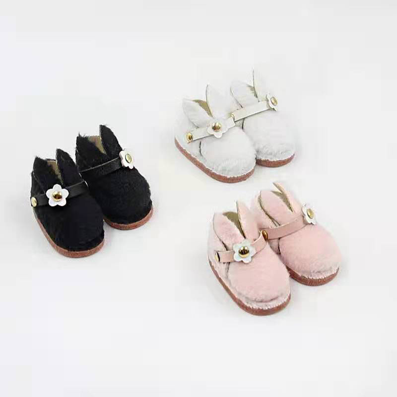 OB11 Shoes Fluffy Rabbit Ear Shoes For OB11 Doll Shoes Dolls Accessories Mini Shoes For Dolls Winter Shoes