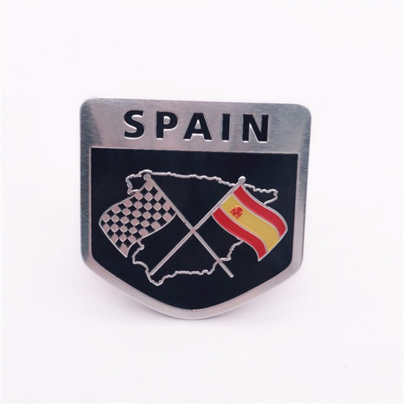 Aluminum Alloy Shield Styling Spain National Spanish Flags Emblem Decals Car Stickers 5x5cm Automobiles Decorating Accessories