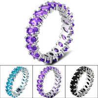 925 splitter Diamant Schmuck Sapphire Ring für Frauen Luxus Anillos Edelstein Smaragd und Obsidian Diamant S925 Ring Box Schmuck