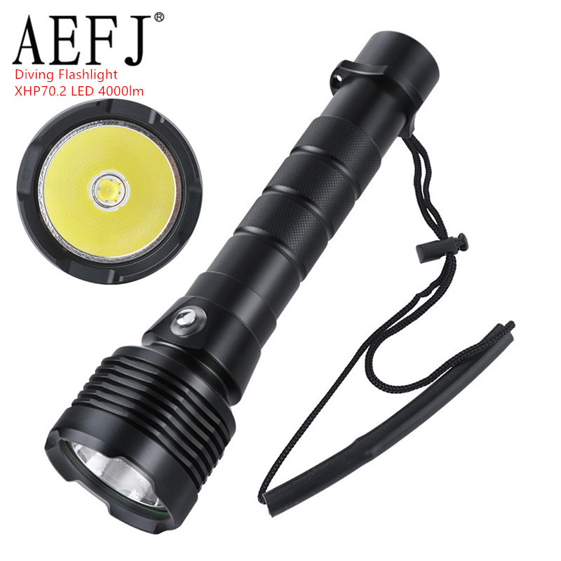 AEFJ Super Bright 4000lm Dive IPX8 Waterproof Underwater 80M LED Flashlight Diving Light Cree XHP70.2 Lamp 18650  26650 Torches