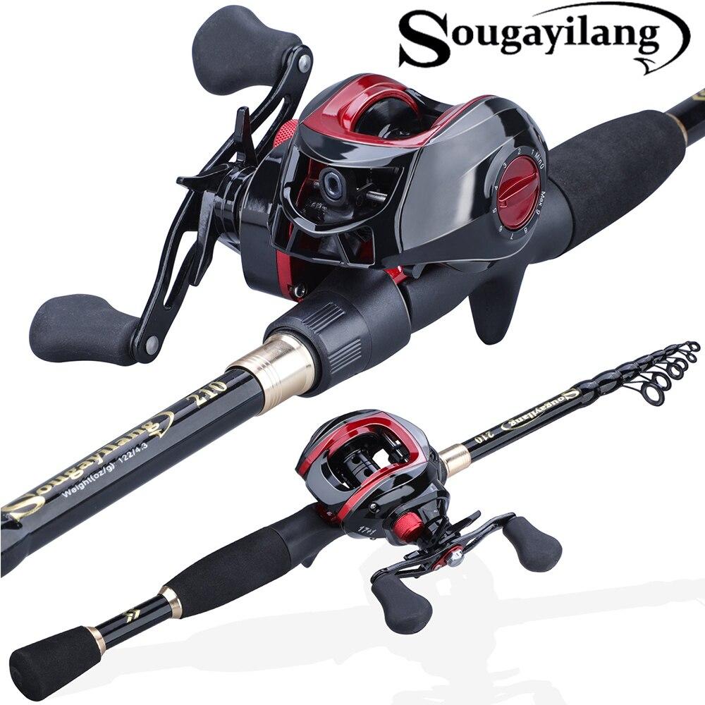 Sougayilang 1.8-2.4m Telescopic Casting Fishing Combo Portable Ultralight Rod And 7.2:1 Gear Ratio Fishing Reel Fishing Combo