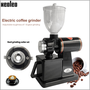 Image 1 - Xeoleo 전기 커피 그라인더 600N 커피 밀 기계 커피 콩 그라인더 기계 플랫 burrs 그라인딩 머신 220V 레드/블랙