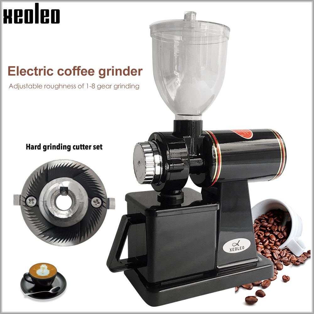 Xeoleo Electric Coffee Grinder 600N Coffee Mill Machine Coffee Bean Grinder Machine Flat Burrs Grinding Machine 220V Red/Black