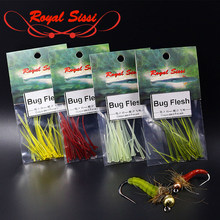 Royal Sissi 24strips/pack tapered rubber strips nymph body wrap Bug Flesh 4optional colors jig nymph hook fly tying materials