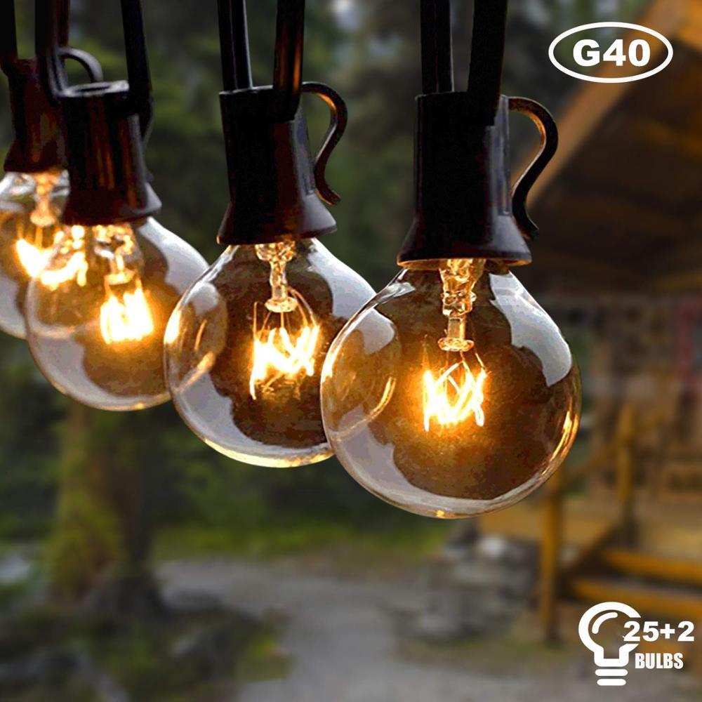 25Ft G40 Globe String Lights With Clear Bulbs Backyard Patio Lights Hanging String Lights For Pergola Deckyard Tent Umbrella