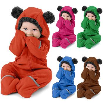 Śpioszki dla niemowląt jesienno-zimowa niemowlę dziewczynek chłopców stałe kreskówkowe uszy pajacyki z kapturem ubrania kombinezon pajacyki de bebe kostiumy tanie i dobre opinie COTTON Poliester CN (pochodzenie) Unisex W wieku 0-6m 7-12m 13-24m 25-36m 3-6y 7-12y 12 + y Cartoon Swetry Pełna Baby Romper