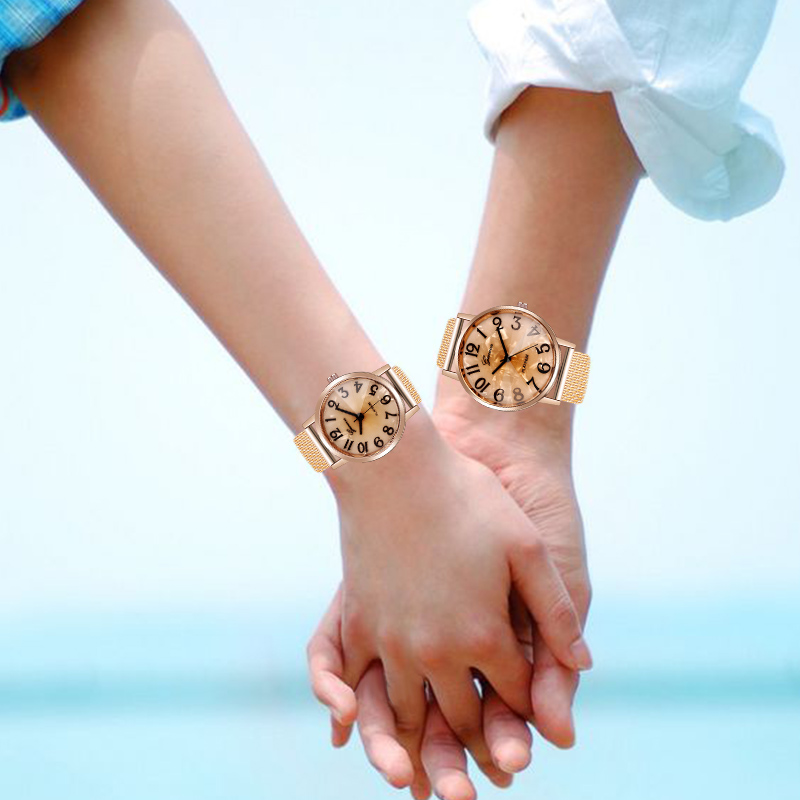 WJ-8845 Simple Couple Watch For Female Rose Gold Casual Men Quartz Wristwatch Fashion Lover's Watches Classic Digit Watch Reloj