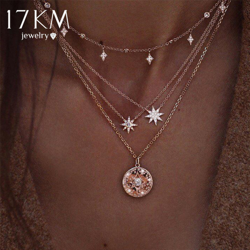 Женское богемное ожерелье с золотыми звездами, 17 км, винтажное многослойное ожерелье с кристаллами с Луной и розовым глазом, колье с цепочкой, ювелирное изделие Ожерелья с подвеской      АлиЭкспресс