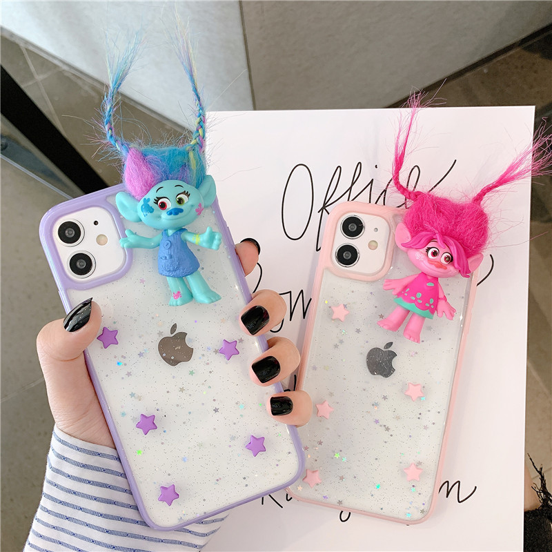 Cartoon Elf Long Hair Doll Glitter Star Phone Case For Iphone 12 Mini 11 Pro Max X Xs XR 7 8 Plus SE 2020 Clear TPU Cover