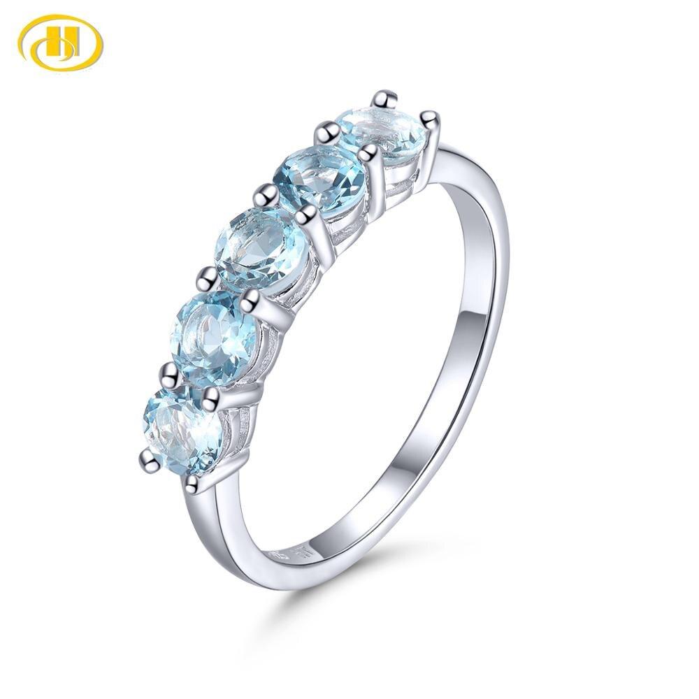 Hutang Aquamarine 925 Silver Ring Genuine Gemstone Solid 925 Sterling Silver Vintage Rings Fine Elegant Women Jewelry for Gift