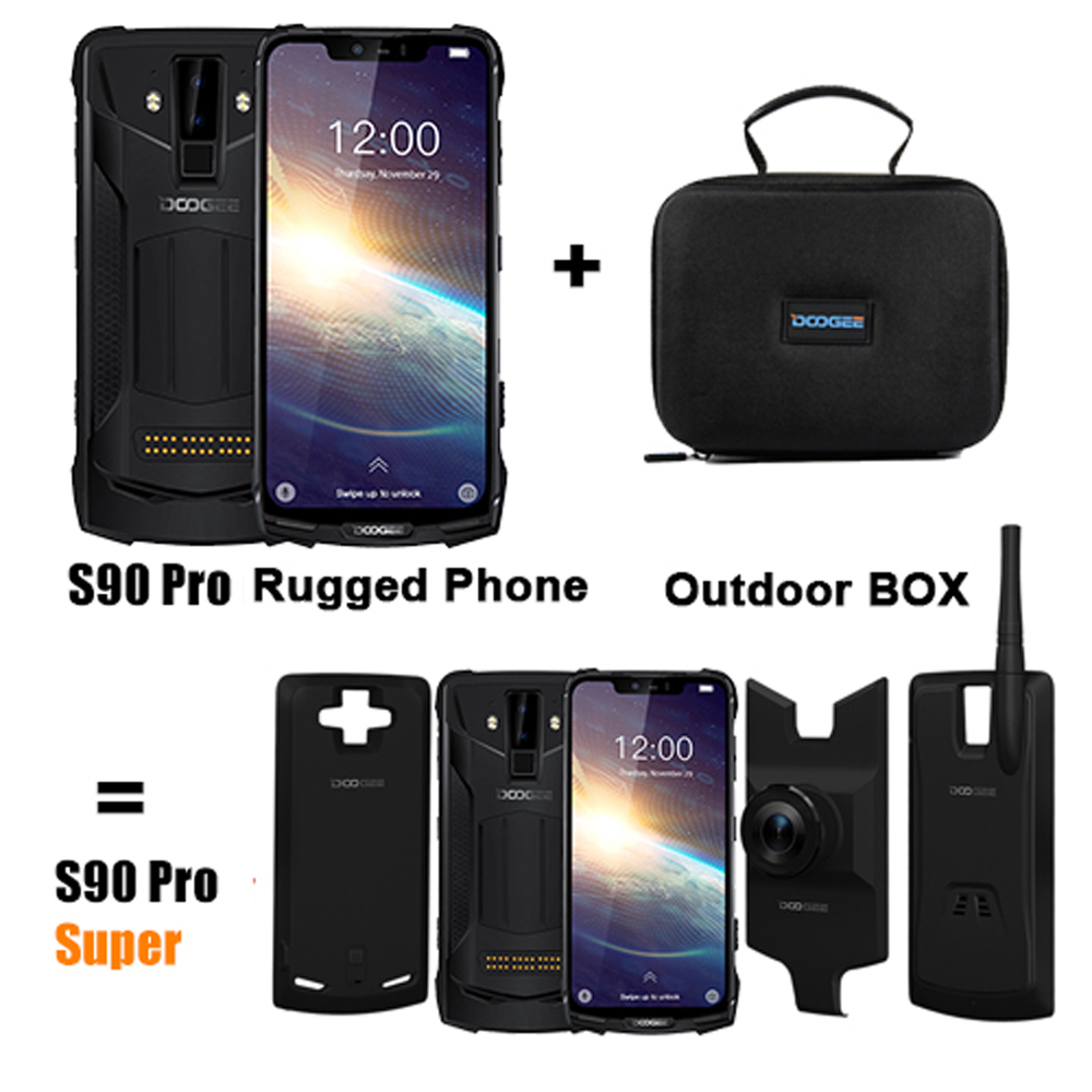 DOOGEE S90 Pro Modular Rugged Mobile Phone Helio P70 Octa Core 6GB 128GB 6.18inch Display 12V2A 5050mAh Android 9.0 NFC Phone