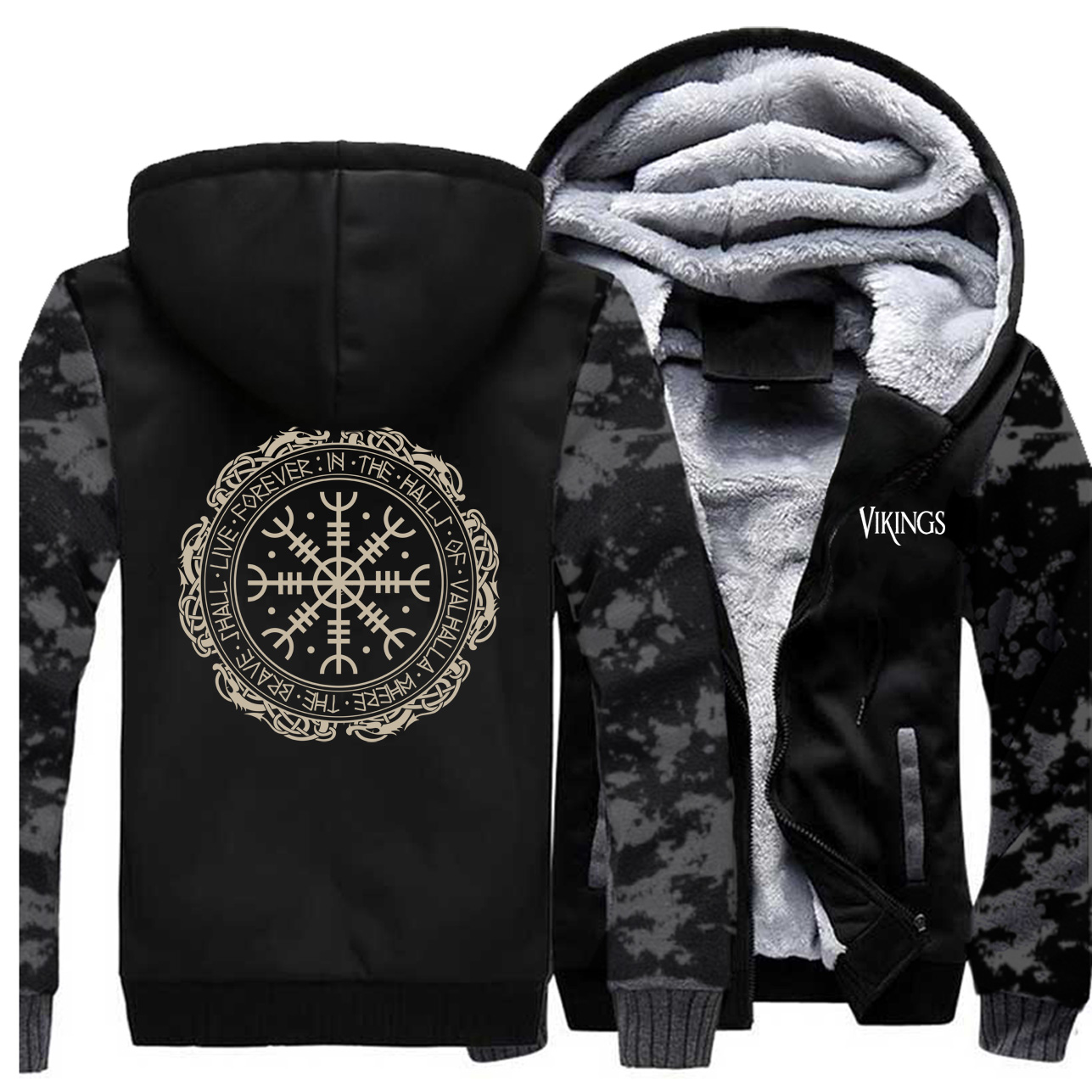 2019 Winter Thick Mens Hoodies Viking Printing Male Jacket Hip Hop Brand Outwear Hot Sale Camouflage Sleeve Men's Jacket Casual 4