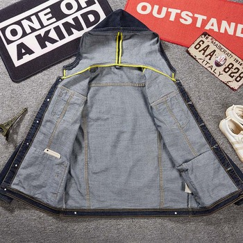 KIOVNO chaquetas de mezclilla casuales de carga para hombre Abrigos con capucha de motocicleta de estilo suelto chaquetas de mezclilla para hombre de algodón de talla grande