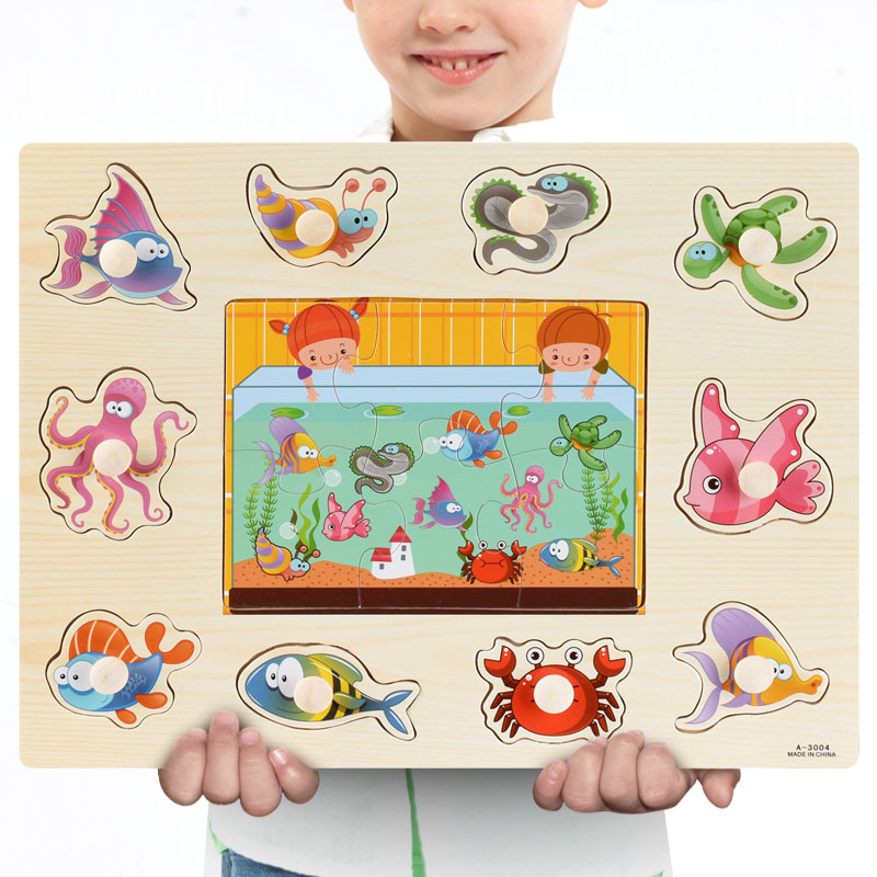 Montessori Wooden Puzzles Hand Grab Boards Toys Tangram Jigsaw Baby Educational Toys Cartoon Vehicle Animals Fruits 3D Puzzles 28