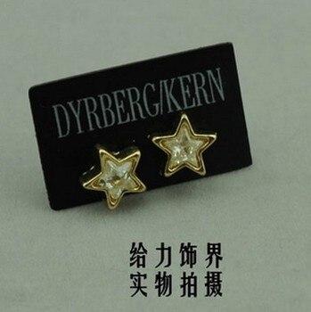 Gorący SEELING moda DYRBERG/KERN wykwintne błyszczący diament kamień złote kolczyki w magazynie