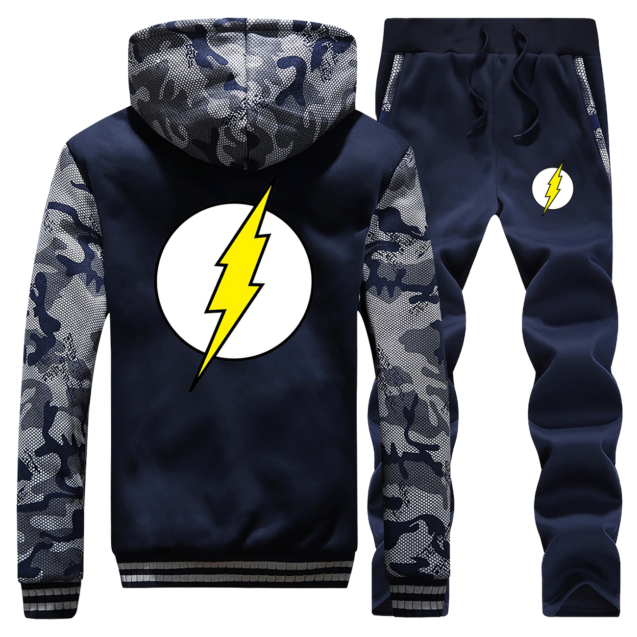 The Flash Superhero Jacket+Pant 2PC Sets Men Fashion New Sweatshirt Set Camouflage Hip Hop Coat Thick Hoodies Mens Warm Suit