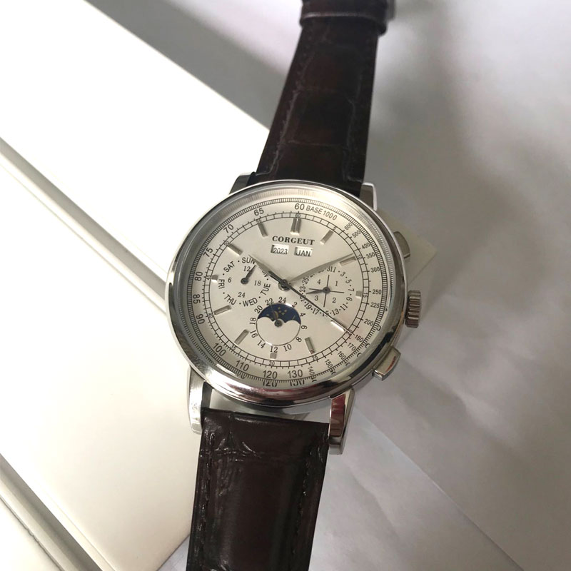 Top Brand 42mm Corgeut mechanical wristwatches moon Phase White Dial Silver Year Day Month Week 316L SS Case Automatic watch men