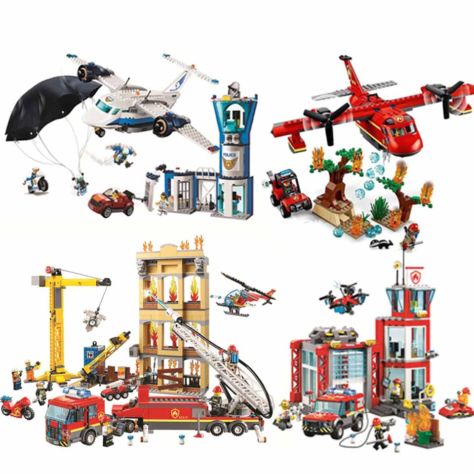 NEW Fire Fighting Trucks Car Helicopter Boat Police Building Blocks Compatible  Legoinglys City Firefighter Bricks Children Toys
