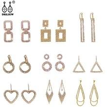 DREJEW Luxury 925 Rhinestone Geometric Heart Circle Statement Dangle Earrings Korean Gold Silver Drop Earrings for Women Wedding