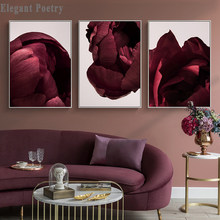 Scandinavian Art Flower Canvas Poster Red Rose Petals Floral Print Painting Nordic Style Wall Picture Modern Living Room Decor(China)