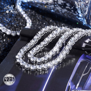 ALLICEONYOU 925 Sterling Silver High Quality Iced Out Cubic Zirconia 3-6MM Tennis Chain Necklace Hip Hop Jewelry Elegant Gift