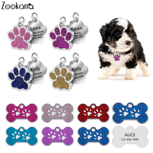 Collar-Accessories Engraved Paw-Name-Tags Puppy Stainless-Steel Custom Personalized Cat
