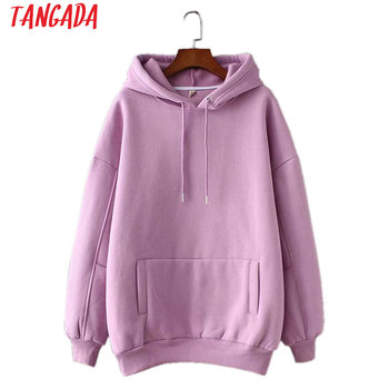Tangada women fleece hoodie sweatshirts winter japanese fashion 2020 oversize ladies pullovers warm pocket hooded jacket SD60 1