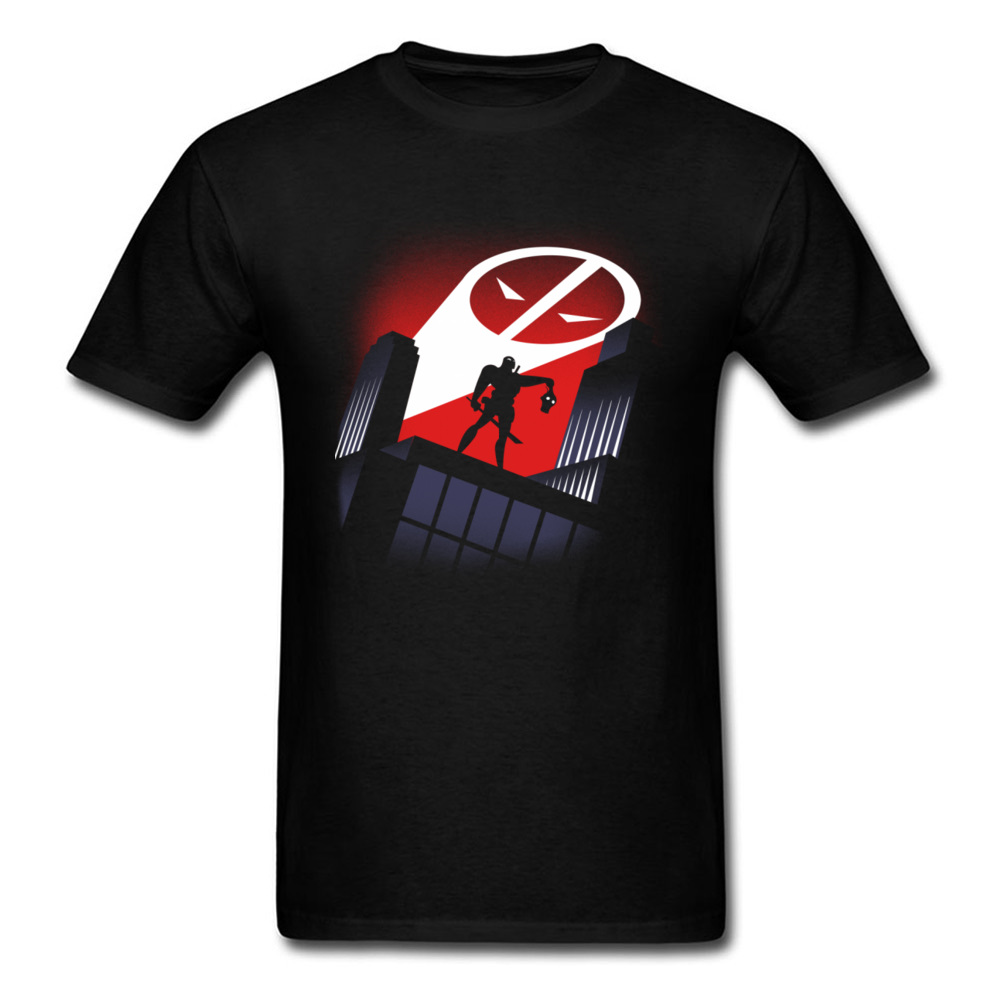 2018 Discount Men Top T-shirts Deadpool Daredevil Comic Skull Face Tees Cotton Fabric Round Collar Clothing Shirt Slim Fit Black image