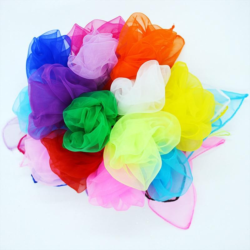 Girls Summer Spring Transparent Square Scarf Solid Color Head Wear Thin Chiffon Scarves Fashion Organza Wraps 45cm X45cm