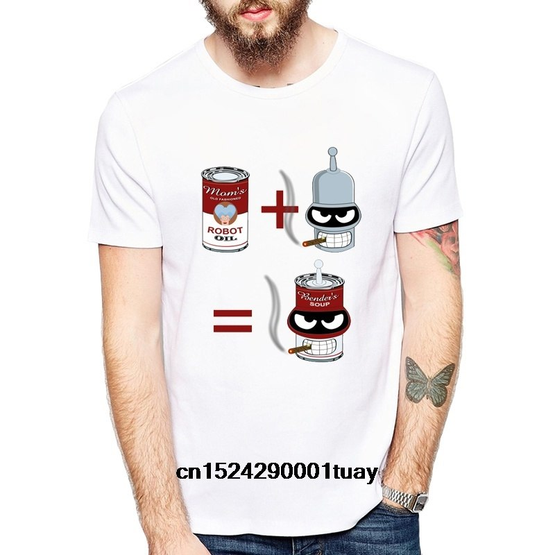 New Summer Fashion Men's Short Sleeve Bender+Soup T-Shirt Cartoon White Casual O-Neck Printed White T-Shirt(China)