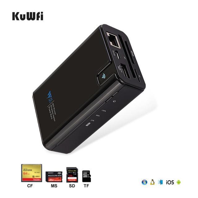 Kuwfi ワイヤレスデータ共有電源銀行旅行ルータ、ワイヤレス sd カードリーダー接続ポータブル ssd ハードドライブ iphone アプリ