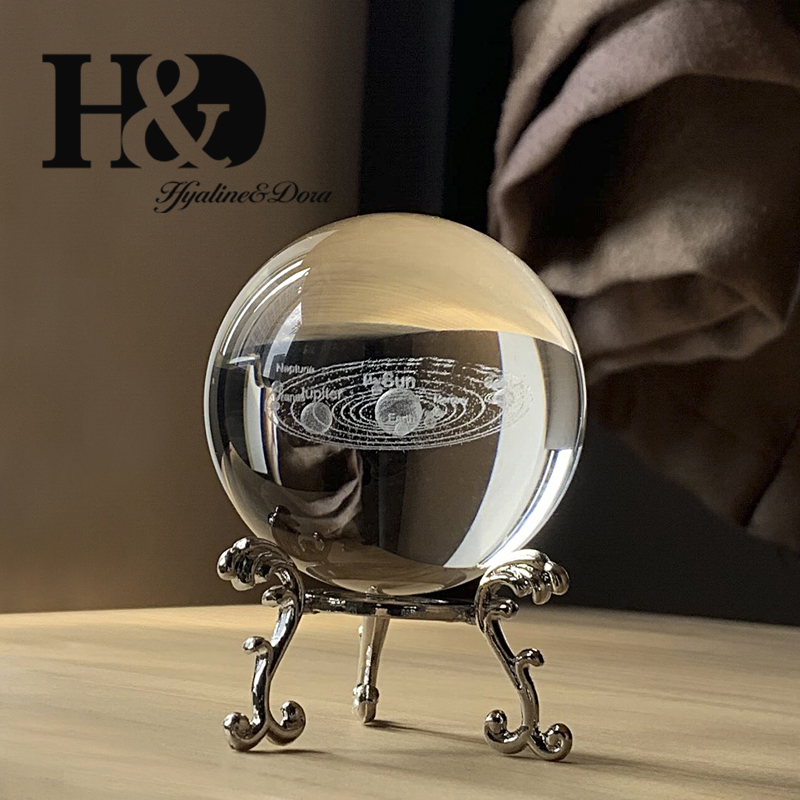H&D 60mm 3D Laser Engraved Solar System Ball Glass Healing Ball Crystal Miniatures Sphere Home Decoration Accessories With Stand