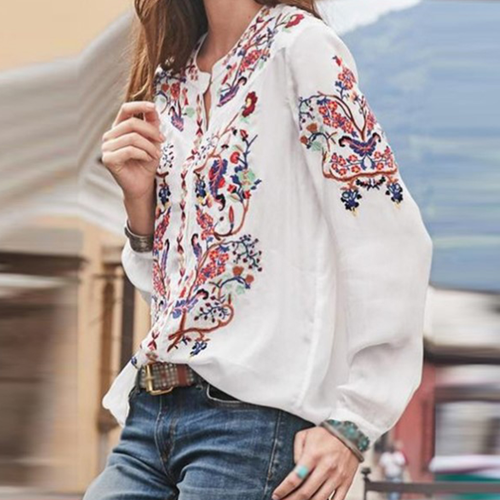 Этнические, праздничные топы с вырезом лодочкой, Повседневная Свободная Женская блузка с рукавом-фонариком, женская блузка из полиэстера с принтом, модная летняя женская блузка