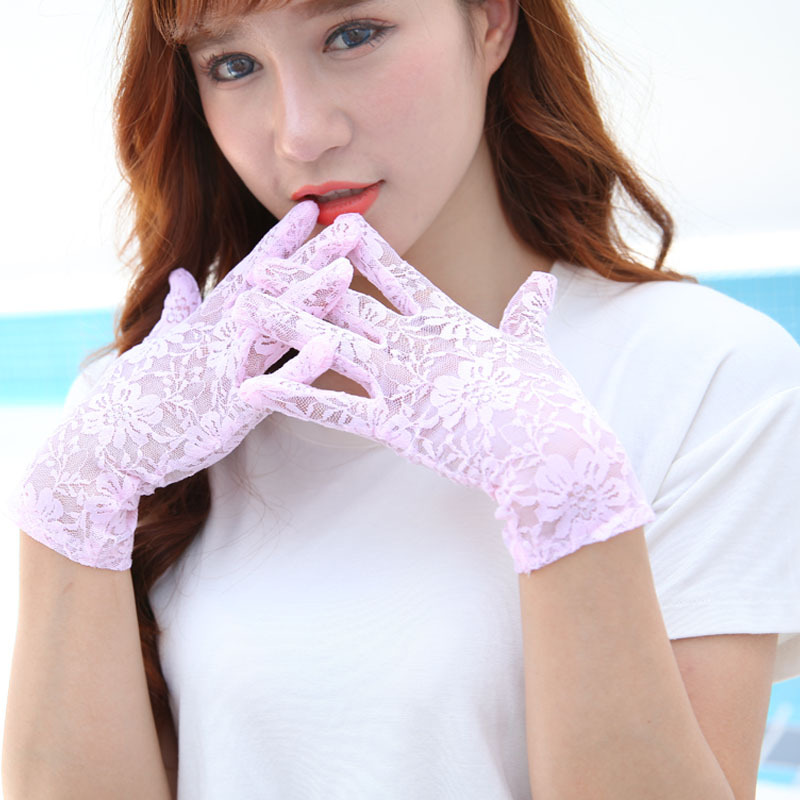 Pink Black Ivory White Wedding Floral Lace Gloves Full Finger Wrist Length Solid Color Bridal Party Gloves Women Outdoor Mitten