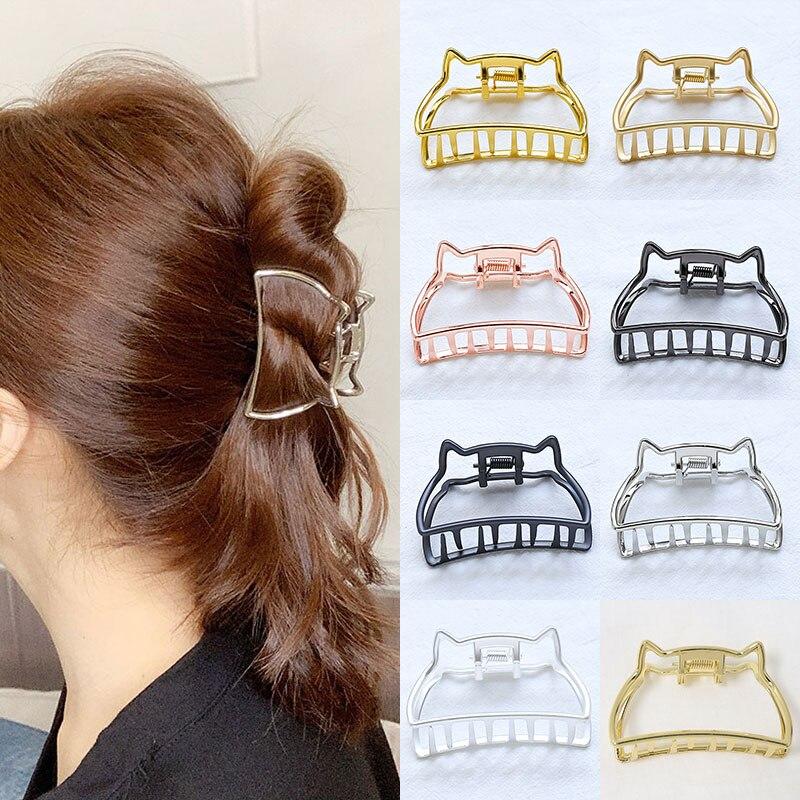 Pinzas de Metal Vintage para el pelo para mujer, pinzas para el pelo con orejas de gato y cangrejo, pasadores, pasadores, accesorios para el cabello, herramientas de peinado, tocados bonitos