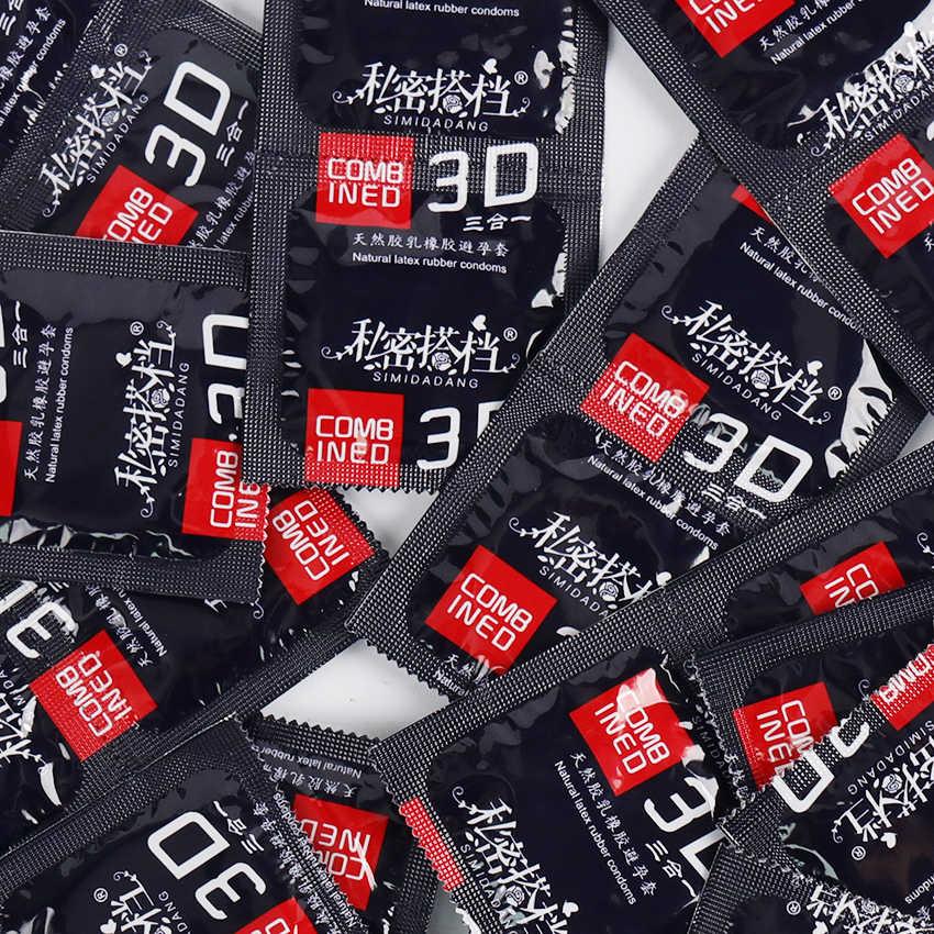 3 ADET Suda Çözünür Yağlayıcı Doğal Kauçuk Prezervatif 3D Iplik Prezervatif G-spot Vajinal StimulationPenis Kollu