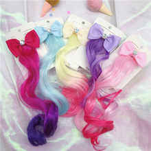 1pc Child Cute Bow Crystal Elastic Hair Band Rubber Band Hair Accessories Kids Wig Headband Girls Twist Braid Rope Headdress(China)