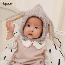 Hepburn Brand Baby Girl/Boy Hats Rabbit ears Winter Hat Children Kids Soft Warm Cotton Knitted Beanie Newborn Cap
