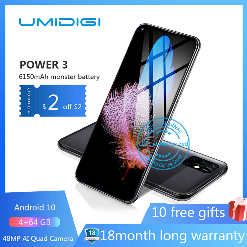 "UMIDIGI puissance 3 6150mAh 6.53 ""FHD + 4GB Version globale Helio P60 64GB ROM Quad caméra Android 10 Face ID Smartphone"