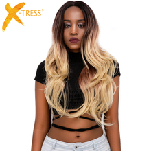 Ombre Blonde Color Synthetic Hair Lace Front Wigs Middle Part X-TRESS 28inch Long Natural Wave Trendy Lace Wig For Black Women ombre brown blonde color synthetic hair wigs middle free part x tress long body wave lace front trendy wavy wig for black women