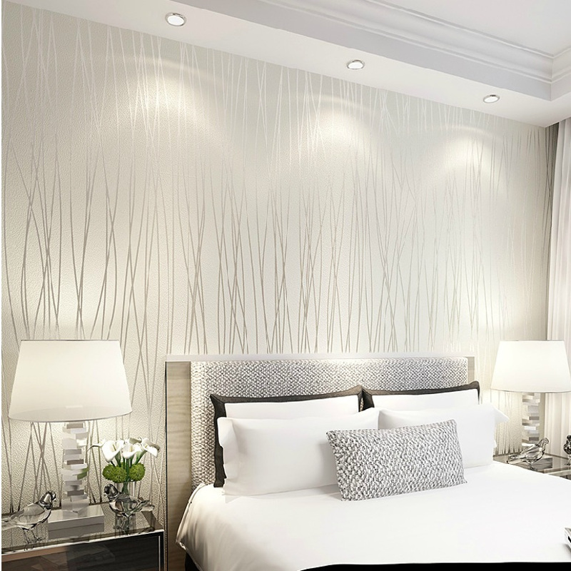Solid Color Vertical Stripe Non Woven 3D Wallpaper,High Quality Modern Wall Paper For Bedroom Living Room Home Decoration