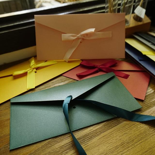 Coloffice 10PCs/Set 12 Colors Vintage Envelopes Greeting Card Envelope Ribbon Bow Pearl Paper For Wedding Invitation Envelopes