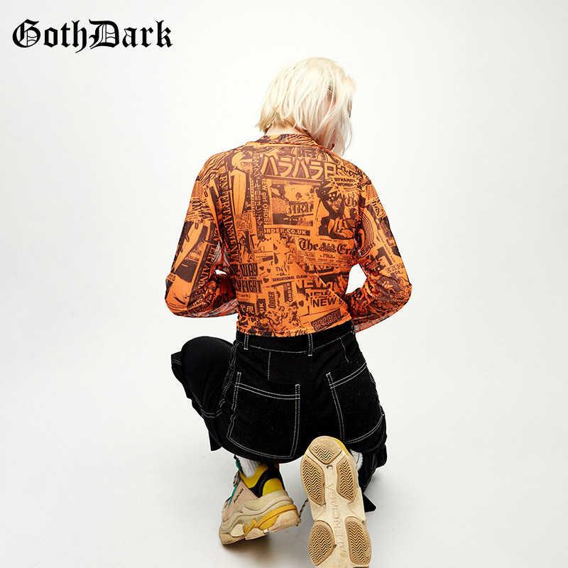 Goth ciemny czarny Vintage Harajuku Gohtic damski T-shirt pomarańczowy nadruk z długim rękawem przycięte jesień 2019 przycięte koszulki damskie Chic