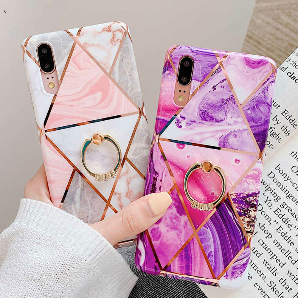 Phone Case For Huawei Mate 20 Lite P20 Pro Cases Finger Holder Plating Marble Case For Huawei P30 Pro P20 Lite Funda Cover Capa