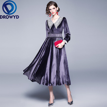 DROWYD queen винтажное блестящее бархатное платье миди для женщин, модное фиолетовое платье с длинным рукавом в стиле бохо для девушек, элегантные вечерние платья Vestidos